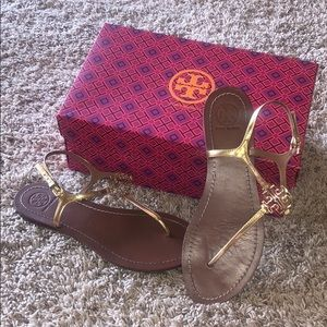 Tory Burch Melinda gold sandals in 7.5